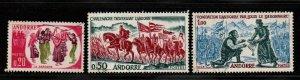 $Fr. Andorra Sc#155-7 used, VF, complete set, Cv. $27.50
