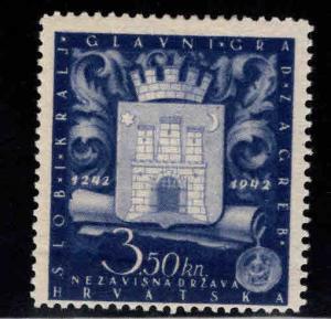 Croatia Scott B28 MH* Arms of Zagreb semi-postal stamp