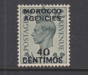 Great Britain, Morocco Sc 87 MNG. 1940 40c on 4p gray green surcharged KGV