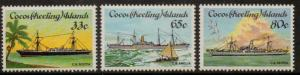 COCOS (KEELING) ISLANDS SG129/31 1985 CABLE LAYING SHIPS MNH
