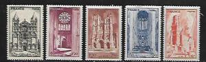 FRANCE, B185-B189, MINT HINGED,  CATHEDRALS