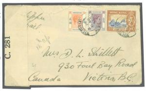 HONG KONG Cover WW2 *Clipper Air Mail* Censored 1941 Canada Victoria Y145