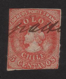1856, Chile, 5c stamp, Used, Orange red, Mi 1IIf, Sc 9b, Cv 203$