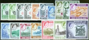 Rhodesia & Nyasaland 1959-62 Extended set of 17 SG18-31 Both Coil Stamps V.F MNH