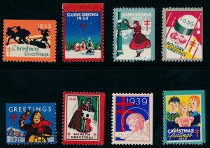 SALE Stamp Label US Christmas Seal 1933-40 TB Greetings Holiday Selection MNH