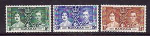 Bahamas-Sc#97-9-unused very light hinged KGVI Coronation set-Omnibus-1937-