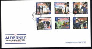 Alderney Sc 215-20 2003 Island Police stamp set on FDC