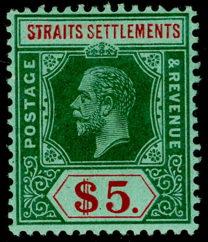 MALAYSIA - Straits Settlements SG212, $5 green & red/green, LH MINT. Cat £120.