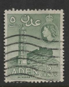 ADEN - Scott 48 - QEII Definitive-Perf.12 x 13.5 - 1953- Used - Single 5c Stamp