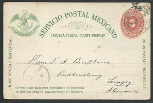 MEXICO 1892 3c postcard used to Germany....................................60380