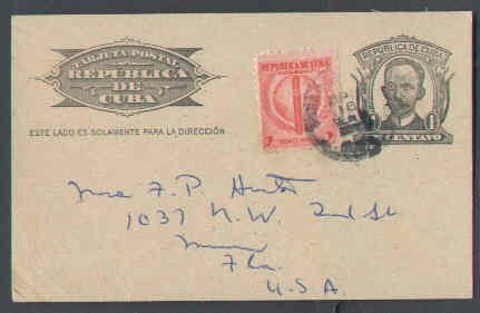 Cuba   #8694-1c Marti p/c uprated with 2c cigar & Globe to USA-