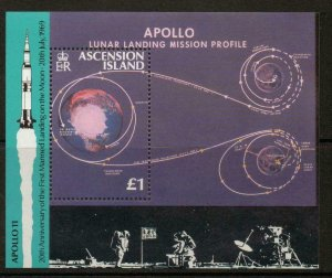 ASCENSION SGMS497 1989 FIRST MANNED LANDING ON THE MOON  MNH