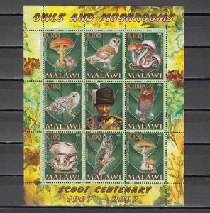 Malawi, 2007 Cinderella issue. Owls & Mushrooms sheet. Scout B. Powell label.