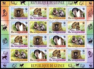 Guinea WWF Mangabey and Baboon Sheetlet of 4 sets