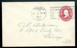 U.S. Scott U411 on 1911 Cover w/Time-Cummins Chicago Ravenswood Station Cancel