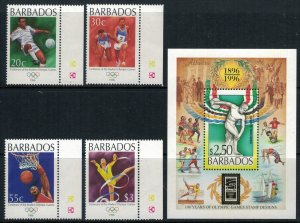 Barbados #913-7* NH  CV $10.25  1996 Olympics set & souvenir sheet