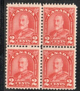 Canada Sc  165 1930 2 c deep red George V stamp block of 4 mint NH