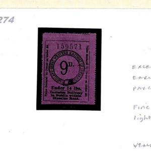 1274 GB IRELAND *Midland Great Western Railway* 1878 Parcel Stamp 9d Fine Mint