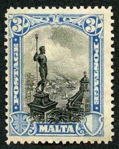 Malta SG170 3/- Blue and Black Wmk Mult Script CA M/M