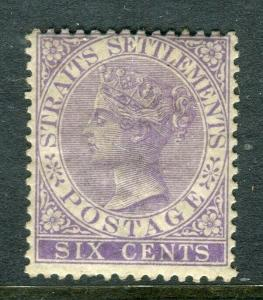 STRAITS SETTLEMENTS; 1883 early QV Crown CA Mint hinged Shade of 6c. value