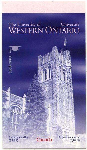 Canada - 2003 University of Western Ontario Booklet #BK268b Open Cover