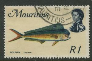 Mauritius -Scott 353 - Fish Definitive Issue -1969 - FU - Single 1r Stamp