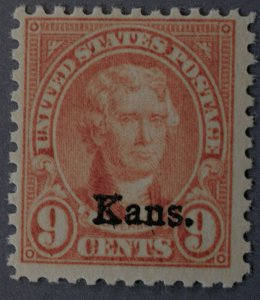 United States #667 9 Cent Jefferson Kans Overprint OG
