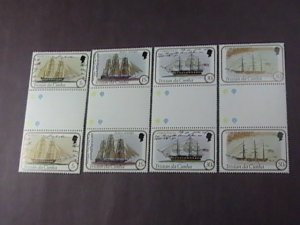 TRISTAN da CUNHA # 306-309-MINT/NH-COMPLETE SET OF CROSS GUTTER PAIRS--1982