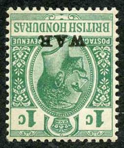 British Honduras SG116aw 1d Green with WAR (type 19) WMK INVERTED very light M/M