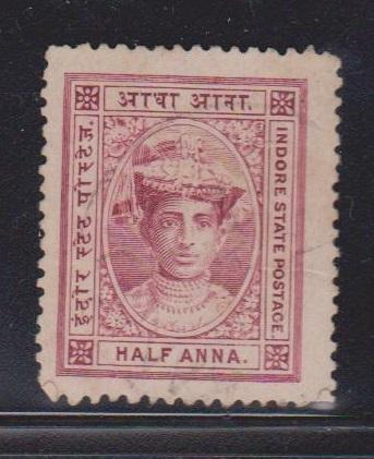 INDIA INDORE Scott 9 Mint NO GUM  - Feudatory State Issue
