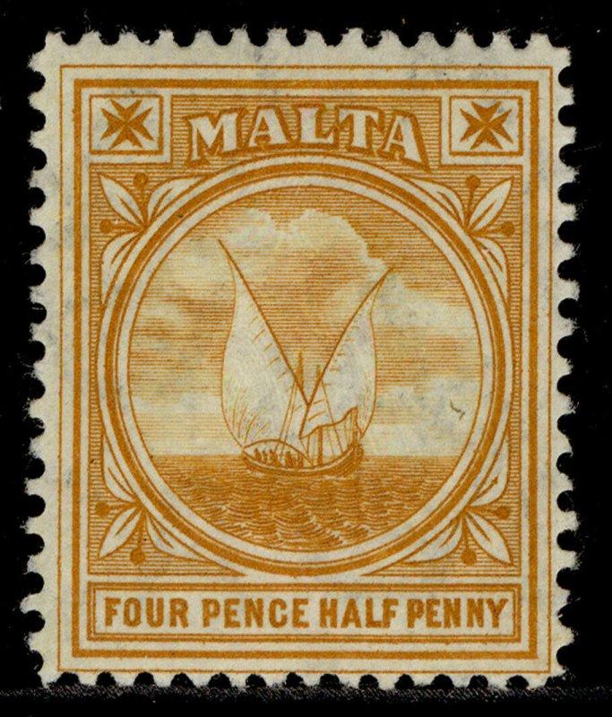MALTA EDVII SG58,4½d orange, LH MINT.