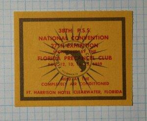 National Convention Exhibition FL Precancel Club 1959 Philatelic Souvenir Label
