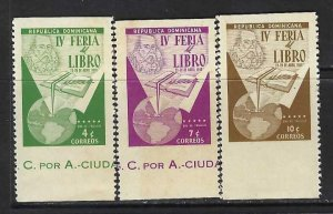 DOMINICAN REPUBLIC 494-96 MNH ERROR HORIZ IMPERF CERVANTES R4-157