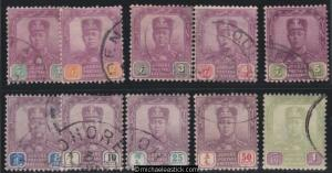 1904 Malaya Johore 1c - $1 Sultan (10), SG 61-70, used