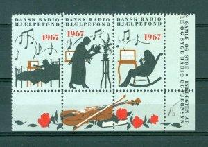 Denmark. Poster Stamp 1967. 3 Seal Row Mnh  Danish Radio Relief Fund 1967