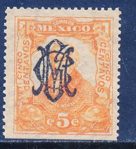 MEXICO 459 5c VILLA MONOGRAM REVOL OVPERPRINT Mint NH. VF. (309)