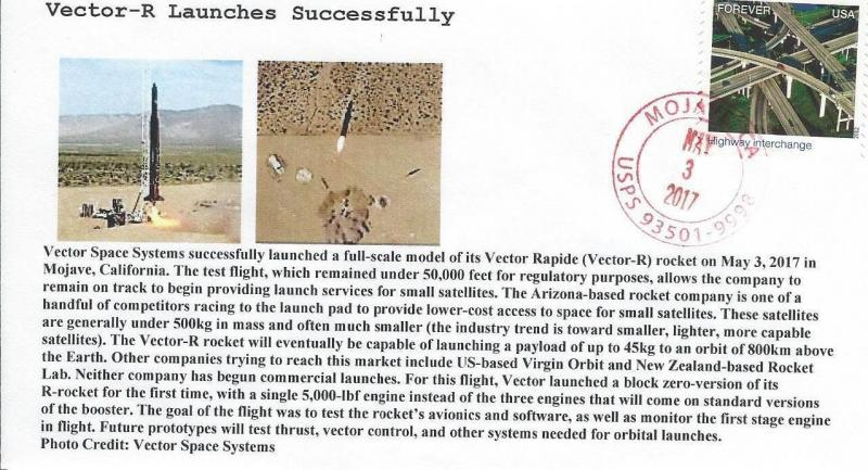 2017 Vector Space Systems Vector R Rocket Launch Mojave 3 May / HipStamp