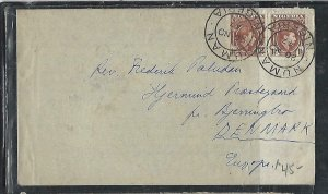 NIGERIA  (P2808BB) 1947 KGVI 1 1/2D PR NUMAN TO DENMARK