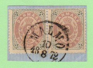 DEN SC #17 PR on-piece 1871 Numeral w/MALMO cancel (MALMO / 8-10-1872)