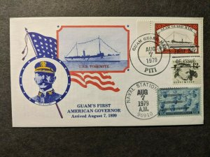 Cruiser USS YOSEMITE Naval Cover 1979 GUAM GUARD MAIL Cachet w/ insert