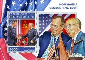HERRICKSTAMP NEW ISSUES CENTRAL AFRICA George H.W. Bush S/S