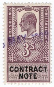 (I.B) Edward VII Revenue : Contract Note 3/- (1907)