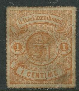 Luxembourg - Scott 18a - Coat of Arms - 1867 - Used- Single 1c Stamp