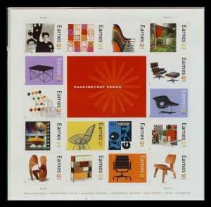 Sc 4333 Charles & Ray Eames Pane of 16  + label MNH Architecture Furniture Film