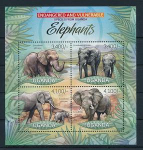 [25809] Uganda 2012 Wild Animals Elephants MNH