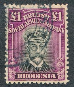 RHODESIA 138 USED, 1 POUND KING GEORGE V