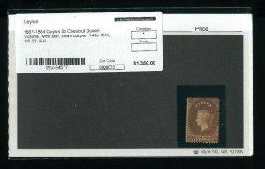 Ceylon Stamp Scott #20, SG #22 (Chestnut Brown) Clean perf 14 to 15 1/2