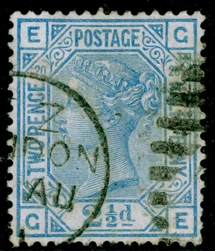 SG142, 2½d blue plate 20, used. Cat £55. GE