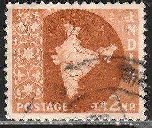 INDIA 276, MAP OF INDIA, USED, VF. (417)