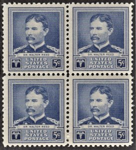 US 877 MNH VF 5 Cent Dr. Walter Reed Block of 4 American Scientist